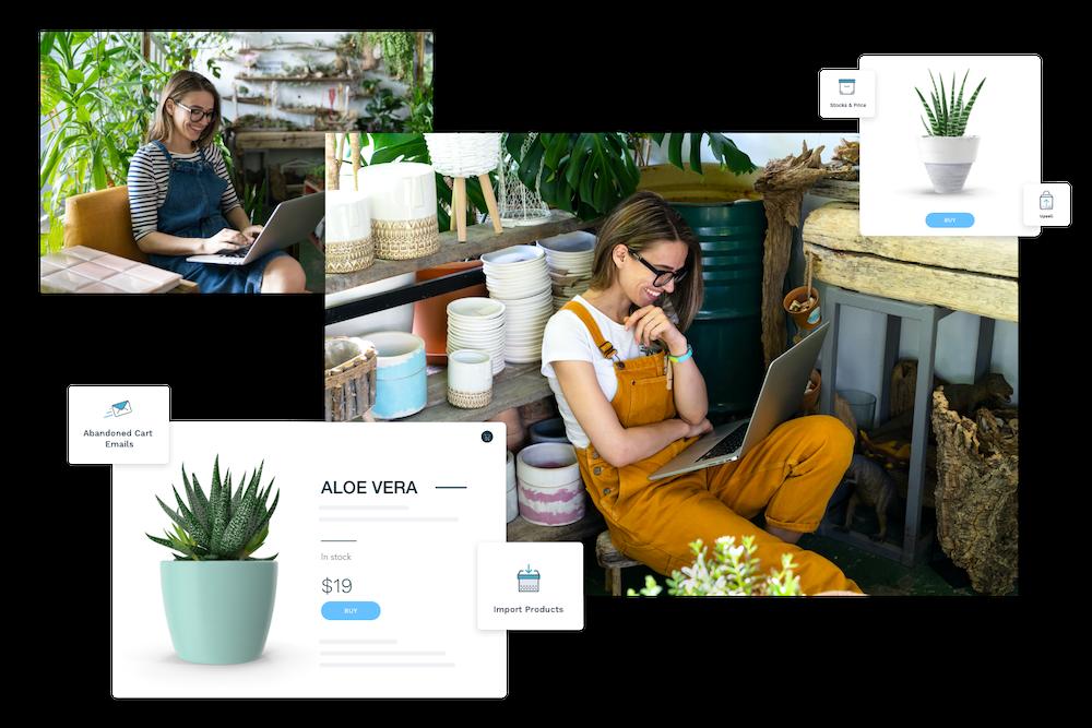 plant store wizishop landing page